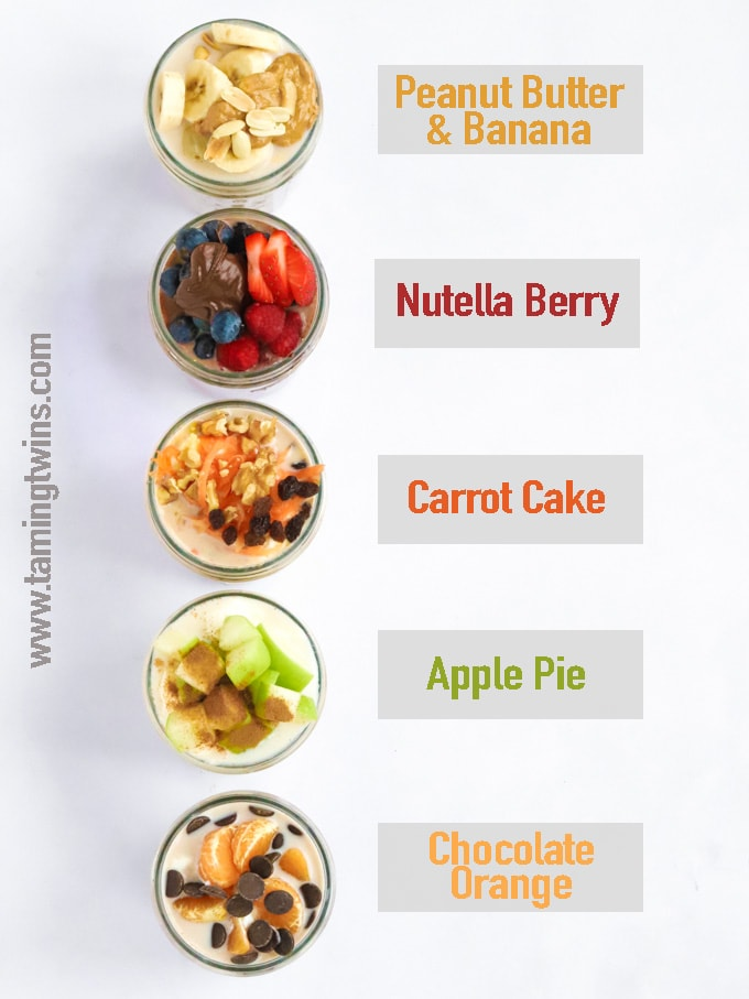 Flavours of overnight oats, Peanut Butter and Banana, Nutella Berry, Carrot Cake, Apple Pie, Chocolate Orange