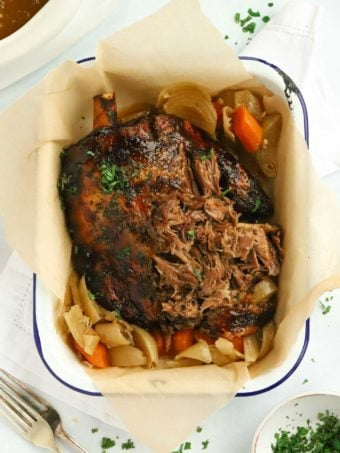 Slow cooker lamb shoulder with mint jelly carrots and onions