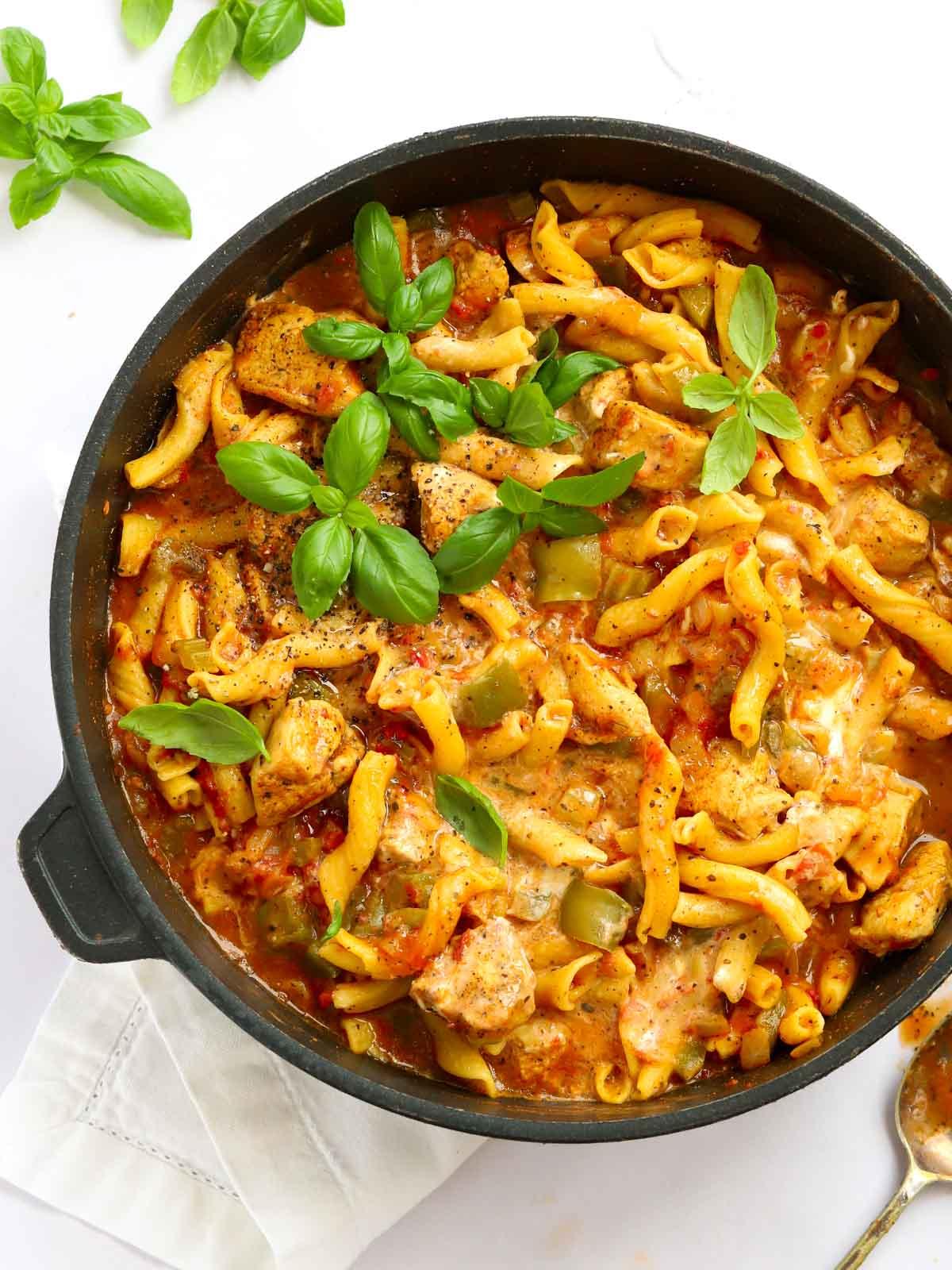 Cajun chicken pasta recipe made in one pot in under 30 minutes