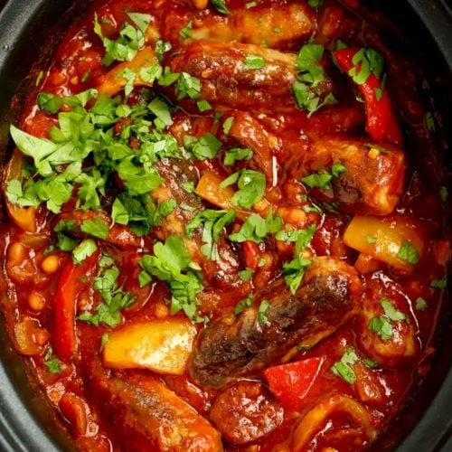 Slow Cooker Sausage Casserole recipe with Chorizo and Beans
