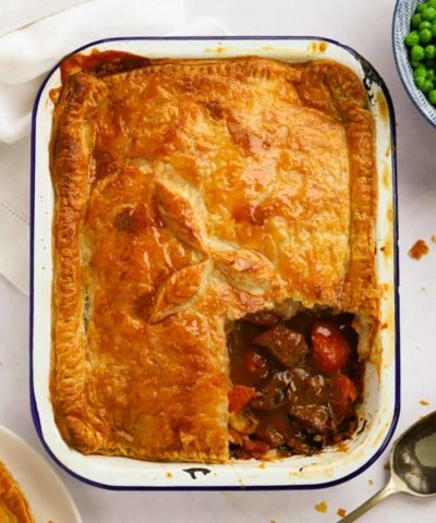 Easy steak pie recipe with puff pastry and rich gravy